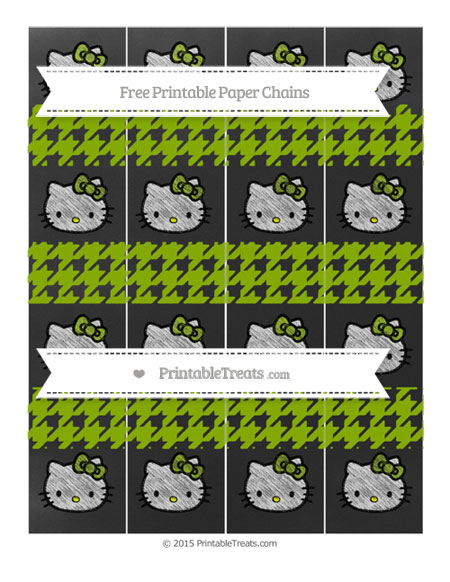 Free Apple Green Houndstooth Pattern Chalk Style Hello Kitty Paper Chains