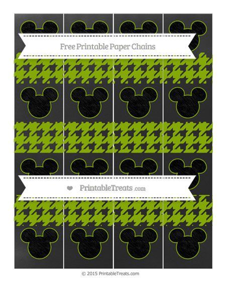 Free Apple Green Houndstooth Pattern Chalk Style Mickey Mouse Paper Chains