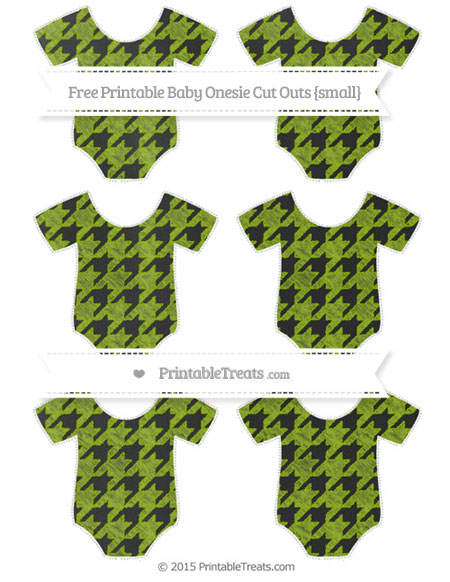 Free Apple Green Houndstooth Pattern Chalk Style Small Baby Onesie Cut Outs