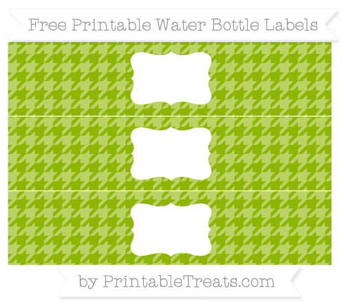 Free Apple Green Houndstooth Pattern Water Bottle Labels