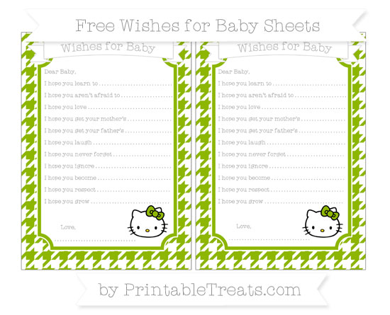 Free Apple Green Houndstooth Pattern Hello Kitty Wishes for Baby Sheets
