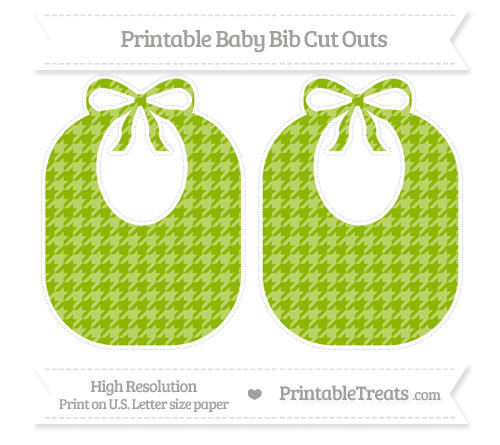Free Apple Green Houndstooth Pattern Large Baby Bib Cut Outs