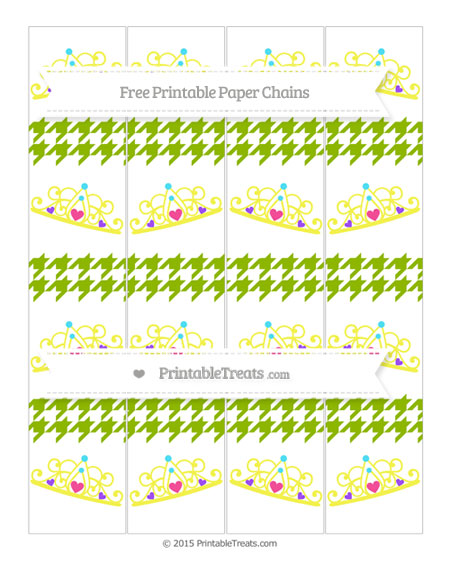 Free Apple Green Houndstooth Pattern Princess Tiara Paper Chains