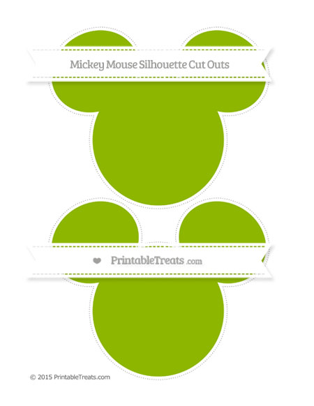 Free Apple Green Large Mickey Mouse Silhouette Cut Outs