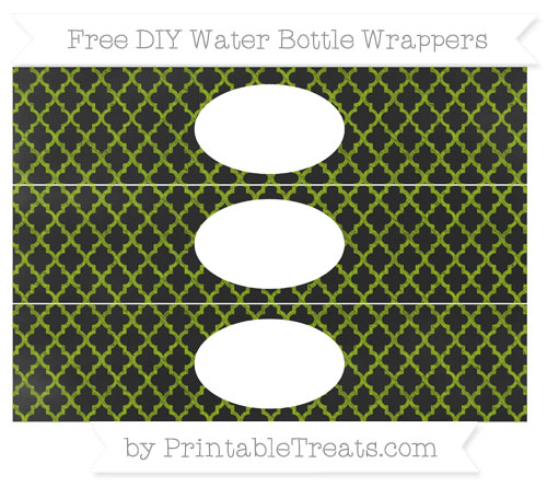 Free Apple Green Moroccan Tile Chalk Style DIY Water Bottle Wrappers