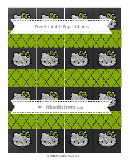 Free Apple Green Moroccan Tile Chalk Style Hello Kitty Paper Chains