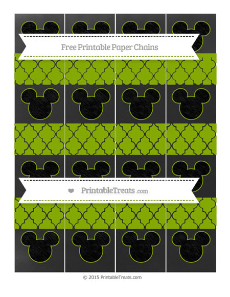 Free Apple Green Moroccan Tile Chalk Style Mickey Mouse Paper Chains