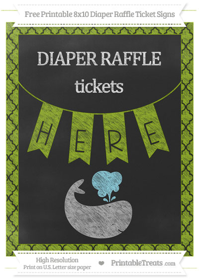 Free Apple Green Moroccan Tile Chalk Style Whale 8x10 Diaper Raffle Ticket Sign