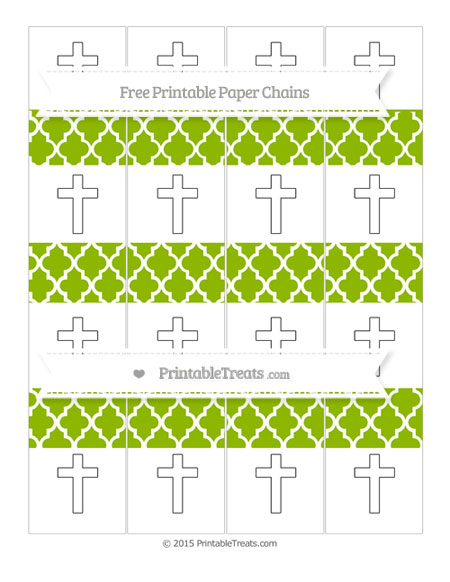 Free Apple Green Moroccan Tile Cross Paper Chains