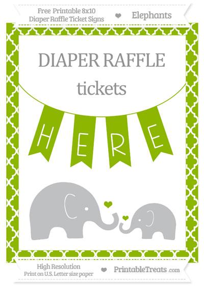Free Apple Green Moroccan Tile Elephant 8x10 Diaper Raffle Ticket Sign
