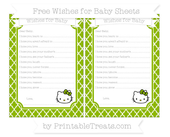 Free Apple Green Moroccan Tile Hello Kitty Wishes for Baby Sheets