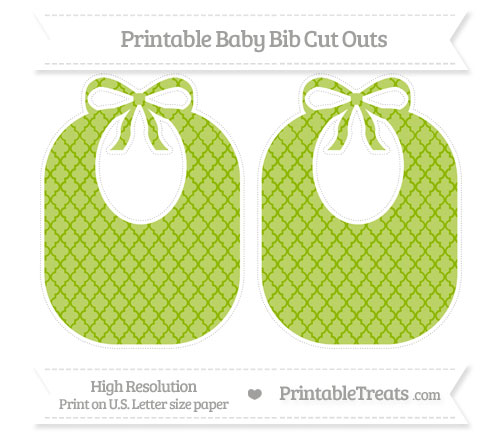 Free Apple Green Moroccan Tile Large Baby Bib Cut Outs