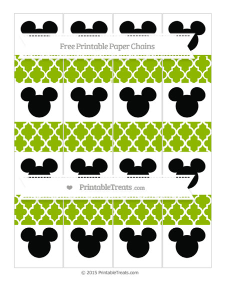 Free Apple Green Moroccan Tile Mickey Mouse Paper Chains