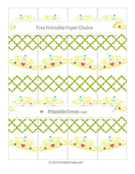 Free Apple Green Moroccan Tile Princess Tiara Paper Chains