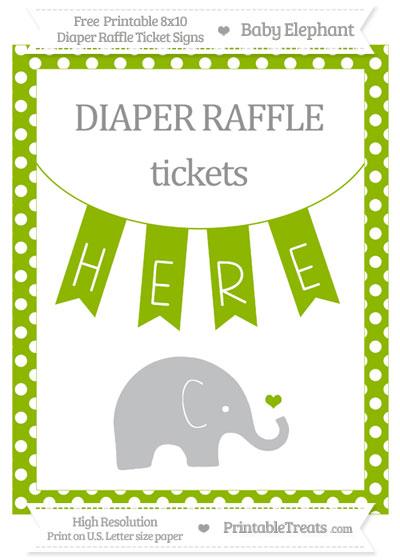 Free Apple Green Polka Dot Baby Elephant 8x10 Diaper Raffle Ticket Sign