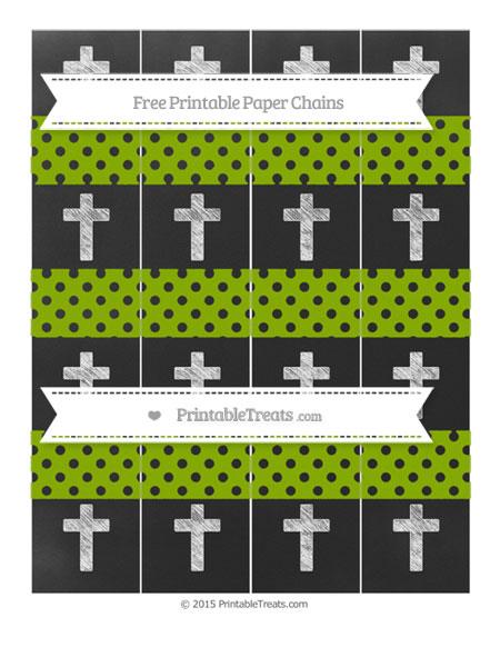 Free Apple Green Polka Dot Chalk Style Cross Paper Chains