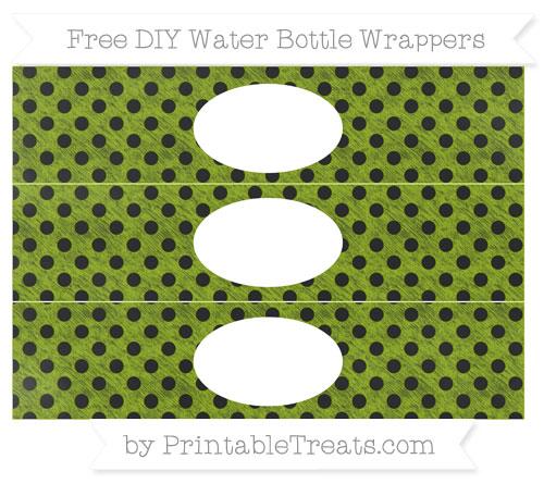 Free Apple Green Polka Dot Chalk Style DIY Water Bottle Wrappers