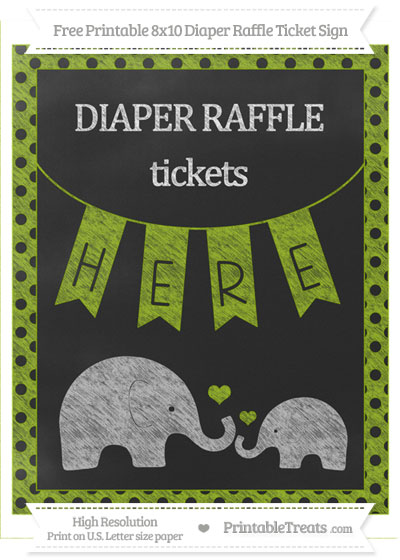 Free Apple Green Polka Dot Chalk Style Elephant 8x10 Diaper Raffle Ticket Sign