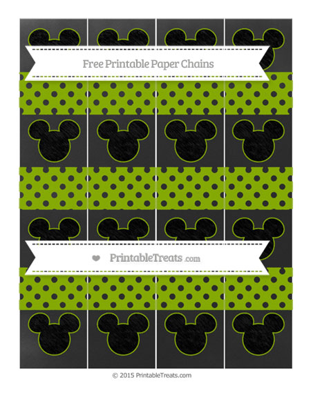 Free Apple Green Polka Dot Chalk Style Mickey Mouse Paper Chains