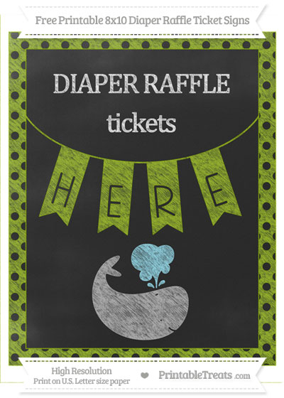 Free Apple Green Polka Dot Chalk Style Whale 8x10 Diaper Raffle Ticket Sign
