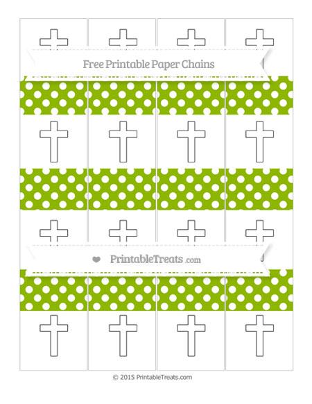 Free Apple Green Polka Dot Cross Paper Chains
