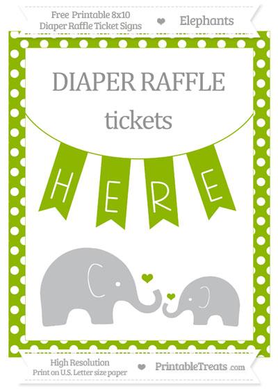 Free Apple Green Polka Dot Elephant 8x10 Diaper Raffle Ticket Sign