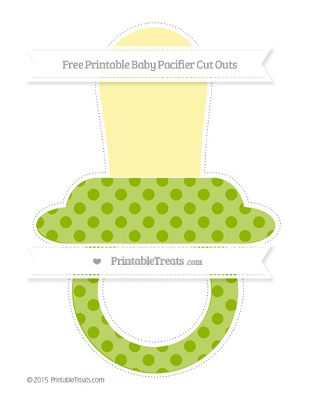 Free Apple Green Polka Dot Extra Large Baby Pacifier Cut Outs