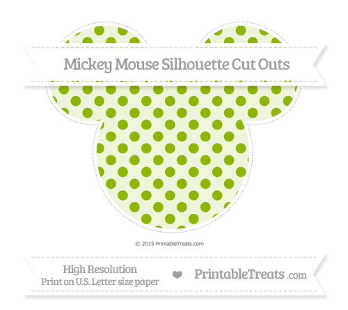 Free Apple Green Polka Dot Extra Large Mickey Mouse Silhouette Cut Outs