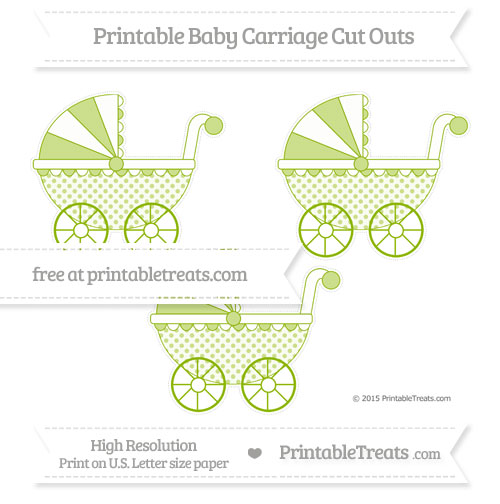 Free Apple Green Polka Dot Medium Baby Carriage Cut Outs