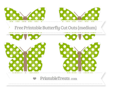 Free Apple Green Polka Dot Medium Butterfly Cut Outs