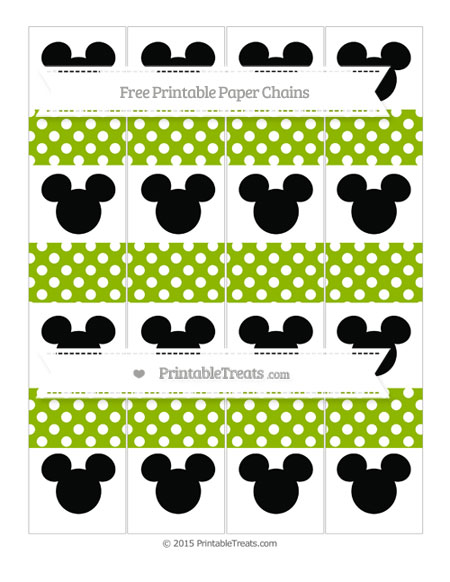 Free Apple Green Polka Dot Mickey Mouse Paper Chains