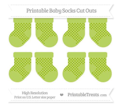 Free Apple Green Polka Dot Small Baby Socks Cut Outs