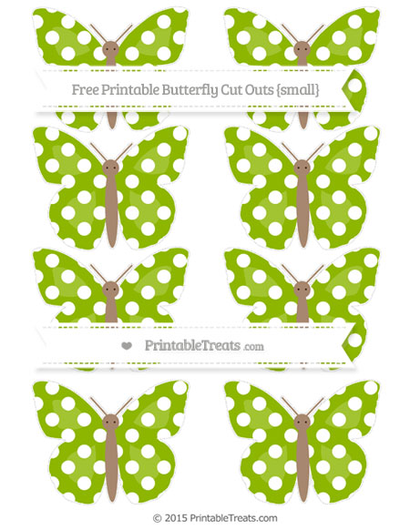 Free Apple Green Polka Dot Small Butterfly Cut Outs