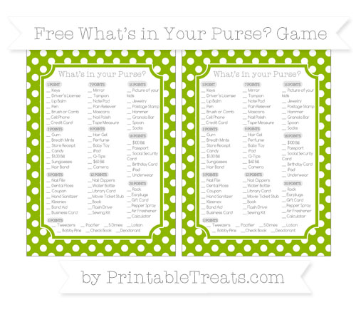 Free Apple Green Polka Dot What's in Your Purse Baby Shower Game