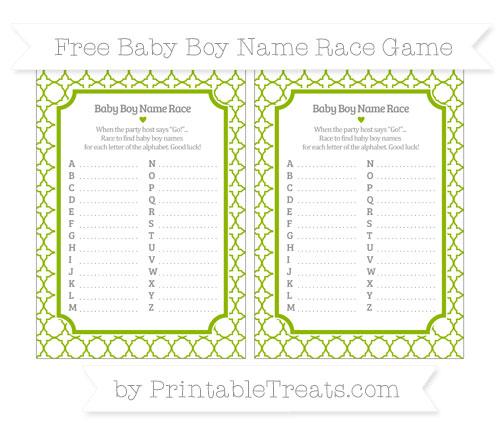 Free Apple Green Quatrefoil Pattern Baby Boy Name Race Game