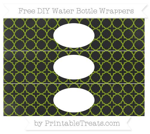 Free Apple Green Quatrefoil Pattern Chalk Style DIY Water Bottle Wrappers