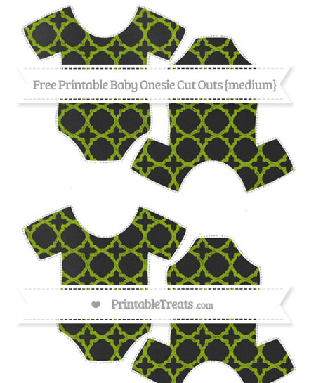 Free Apple Green Quatrefoil Pattern Chalk Style Medium Baby Onesie Cut Outs