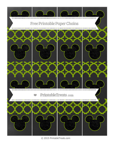 Free Apple Green Quatrefoil Pattern Chalk Style Mickey Mouse Paper Chains