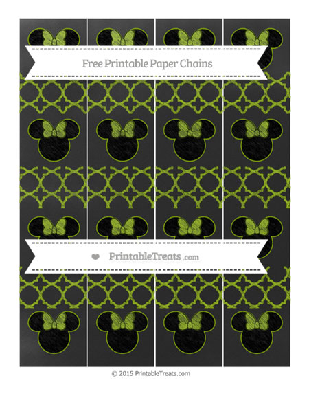 Free Apple Green Quatrefoil Pattern Chalk Style Minnie Mouse Paper Chains