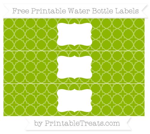 Free Apple Green Quatrefoil Pattern Water Bottle Labels