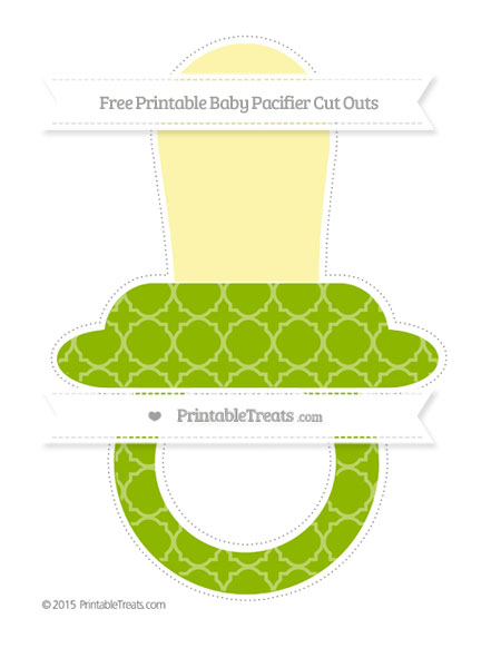 Free Apple Green Quatrefoil Pattern Extra Large Baby Pacifier Cut Outs