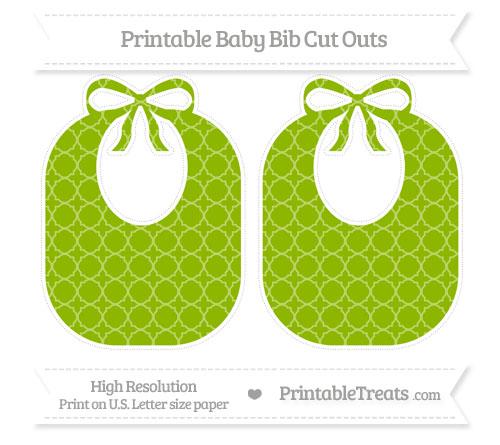 Free Apple Green Quatrefoil Pattern Large Baby Bib Cut Outs