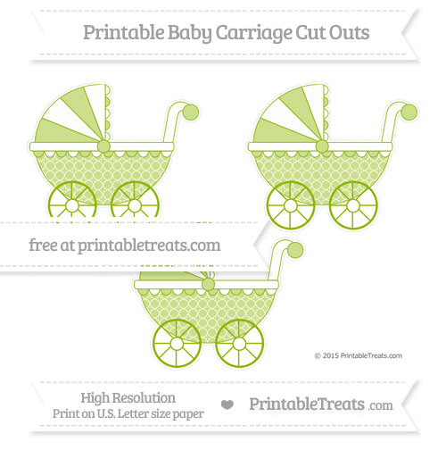 Free Apple Green Quatrefoil Pattern Medium Baby Carriage Cut Outs