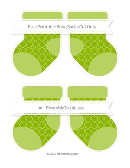 Free Apple Green Quatrefoil Pattern Medium Baby Socks Cut Outs