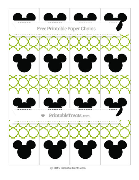 Free Apple Green Quatrefoil Pattern Mickey Mouse Paper Chains