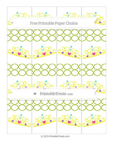 Free Apple Green Quatrefoil Pattern Princess Tiara Paper Chains
