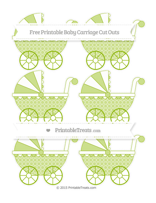 Free Apple Green Quatrefoil Pattern Small Baby Carriage Cut Outs