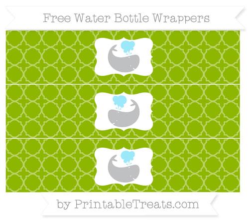 Free Apple Green Quatrefoil Pattern Whale Water Bottle Wrappers