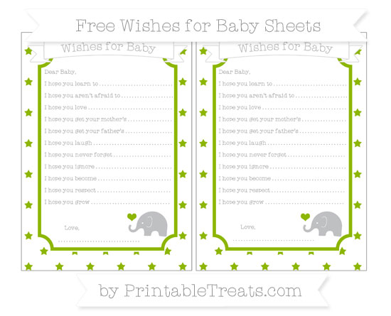 Free Apple Green Star Pattern Baby Elephant Wishes for Baby Sheets