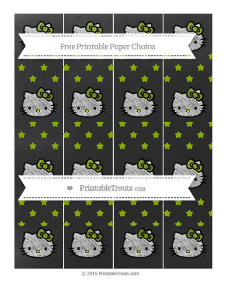Free Apple Green Star Pattern Chalk Style Hello Kitty Paper Chains